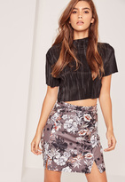 Missguided Oriental Floral Printed Split Hem Scuba Mini Skirt Grey