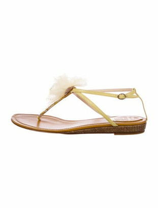 Rene Caovilla Leather Crystal Embellishments T-Strap Sandals Yellow