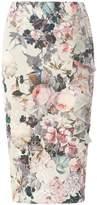 Dorothy Perkins Grey Floral Print Frill Scuba Pencil Skirt