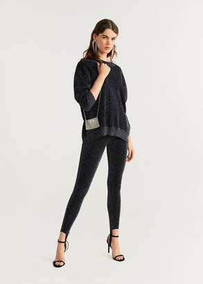 MANGO Metallic thread sweater black - XXS - Women
