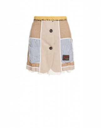 Moschino Patchwork Miniskirt Woman Beige Size 38 It - (4 Us)