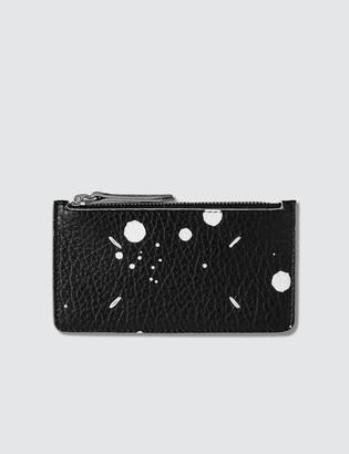 Maison Margiela Zip Spray On Leather Card Holder