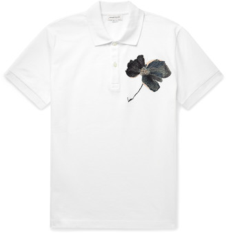 Alexander McQueen Embroidered Cotton-Pique Polo Shirt