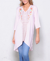 Paparazzi Pink Embroidered Pullover V-Neck Tunic