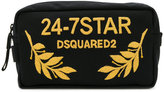 DSQUARED2 24-7 embroidered wash bag - men - Cotton/Leather/Polyester - One Size