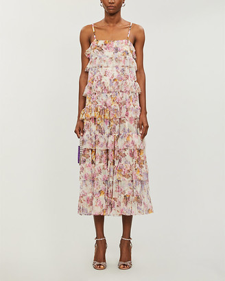 Needle And Thread Needle & Thread x Jasmine Hemsley Harmony floral-print recycled tulle midi dress