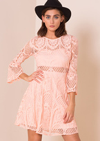 Missy Empire Isobella Pink Bell Sleeve Lace Skater Dress