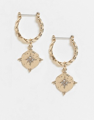 ASOS DESIGN hoop earrings with crystal star coin charm in gold tone