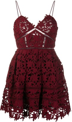 Self-Portrait Lace Applique Mini Dress