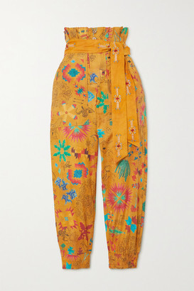 CHUFY Belted Printed Cotton-voile Tapered Pants - Mustard