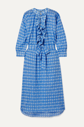 Yvonne S Frill Oversized Printed Cotton-voile Midi Dress - Azure