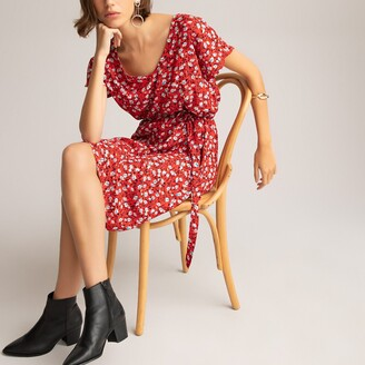 La Redoute Collections Floral Print Mid-Length Dress with V-Neck and Short Sleeves