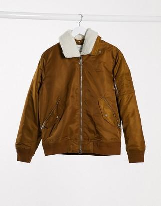 Lacoste borg collar padded bomber jacket