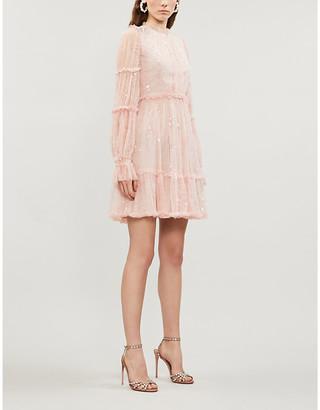 Selfridges Anya ruffled embellished tulle mini dress