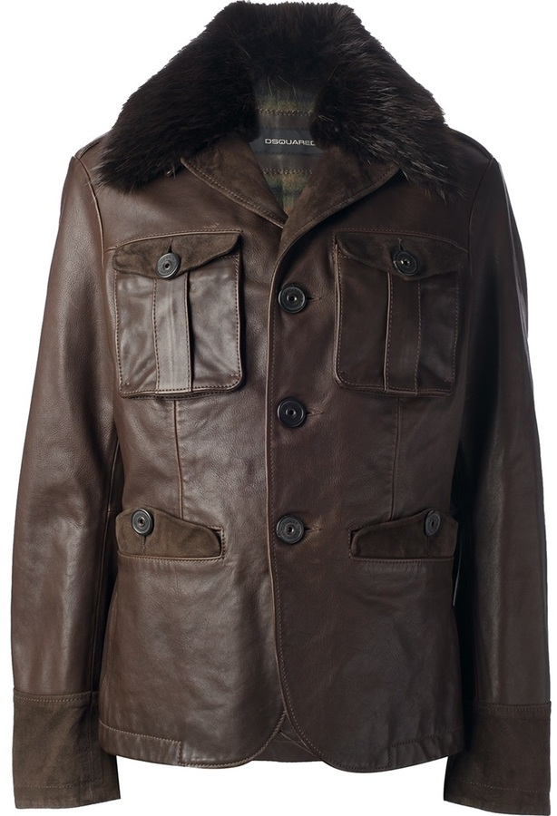 DSquared DSQUARED2 fur collar leather jacket
