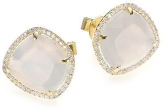 Meira T Chalcedony, Mother-Of-Pearl, Diamond & 14K Yellow Gold Doublet Stud Earrings