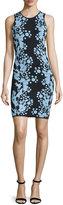 Cynthia Rowley Fully Fashioned Sleeveless Sheath Dress, Black/Sky Blue