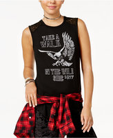 Freeze 24-7 Juniors' Wild Side Crochet-Back Graphic Tank Top