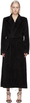 Totême Black Alpaca Wrap Coat