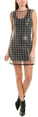 Helmut Lang Plaid Silk-Trim Sheath Dress