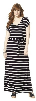Women's Plus Size Short Sleeve V Neck Maxi Dress Black/Cream
