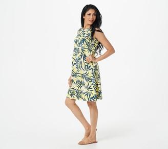 Denim & Co. Petite Printed Jersey Round Neck A-Line Dress