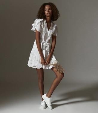 Reiss GEMINA EMBROIDERED MINI DRESS White