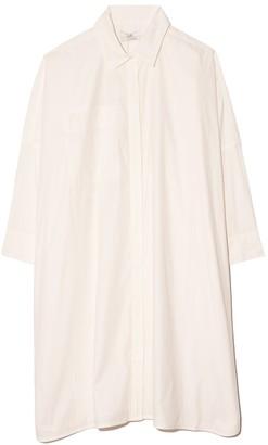 Co Button Down Drop Shoulder Blouse in White