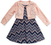 Sweet Heart Rose 2-Pc. Chevron Print Dress & Lace Jacket Set, Little Girls (2-6X)