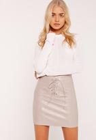 Missguided Eyelet Lace Up Mini Skirt Grey