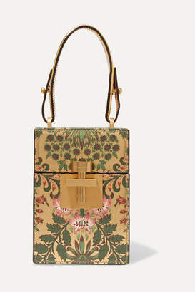 Oscar de la Renta Alibi Floral-print Metallic Textured-leather Clutch - Gold