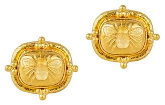 Elizabeth Locke Gold 19K Yellow Gold Fat Bee Medium Cushion Earrings