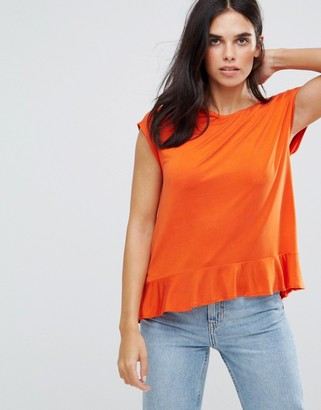 Soaked In Luxury Roll Sleeve Peplum Top-Orange