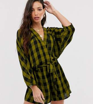 Asos DESIGN Tall stitch detail slouchy tie waist playsuit in green check