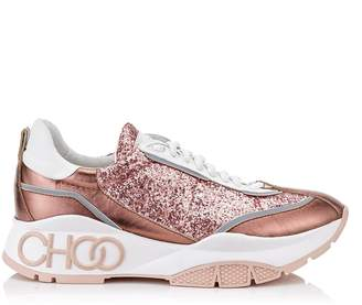 Jimmy Choo RAINE Candyfloss Galactica Glitter Fabric and Calf Leather Lace Up Trainers