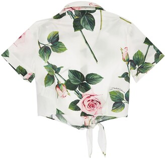 Dolce & Gabbana ROSE PRINT COTTON POPLIN SHIRT W/ BOW