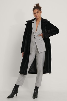 NA-KD Long Belted Faux Fur Coat