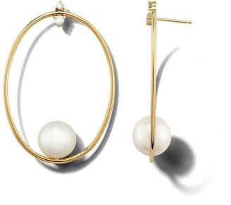 Mizuki Large Oval Pearl and Diamond Yellow Gold Earrings