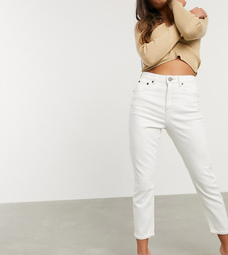 ASOS DESIGN Petite high rise recycled farleigh 'slim' mom jeans in off white