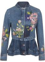 Alexander McQueen Layered Embroidered Denim Jacket