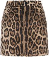 Dolce & Gabbana leopard print corduroy skirt