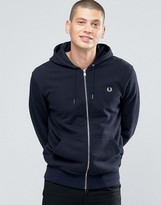 Fred Perry Hoodie With Zip Through In Navy