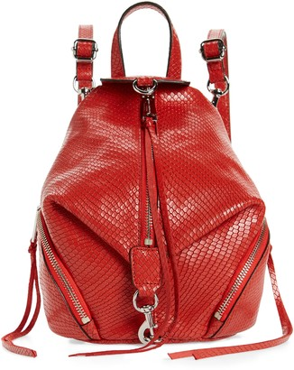 Rebecca Minkoff Mini Julian Snake Embossed Leather Convertible Backpack