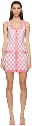 Balmain Pink & White Gingham Jacquard Dress