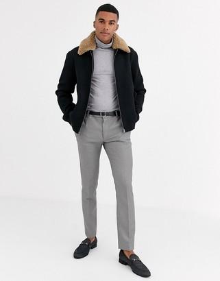 Asos DESIGN wool mix harrington jacket with detachable fleece collar in black
