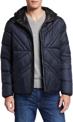 Karl Lagerfeld Paris Men's X-Quilted Puffer Hoodie Jacket