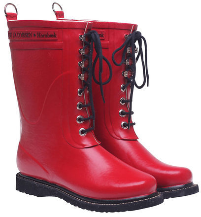 Ilse Jacobsen Hornbaek Lace Up Rainboot Mid Red