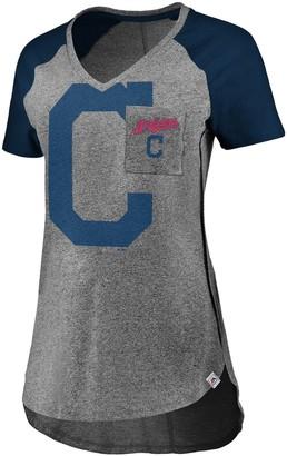Majestic Women's Gray/Navy Cleveland Indians Static Pocket Raglan V-Neck T-Shirt