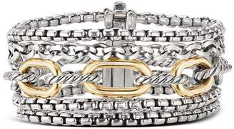 David Yurman Sterling Silver & 18K Yellow Gold Multi-Row Chain Bracelet