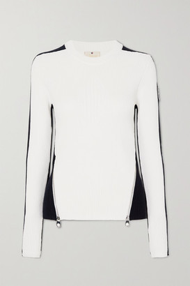 Chloé Fusalp Zip-embellished Two-tone Ribbed Wool Sweater - White